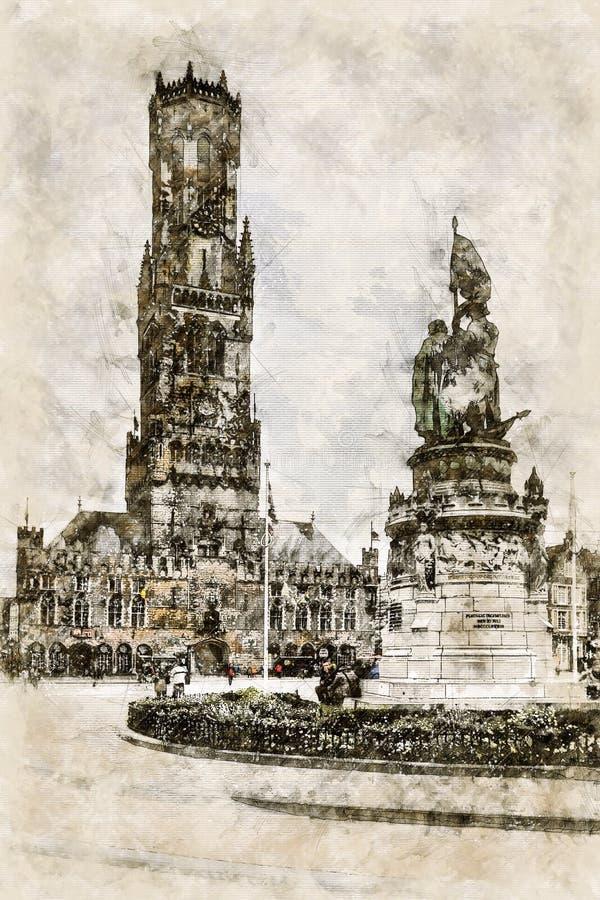 Digital artistic Sketch of a Scene in Bruges vector illustration