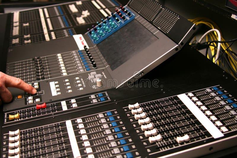 Digital audio mixer. Modern digital audio mixer in action royalty free stock images