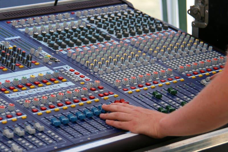 Digital audio mixer. Big digital audio mixer in use stock photos