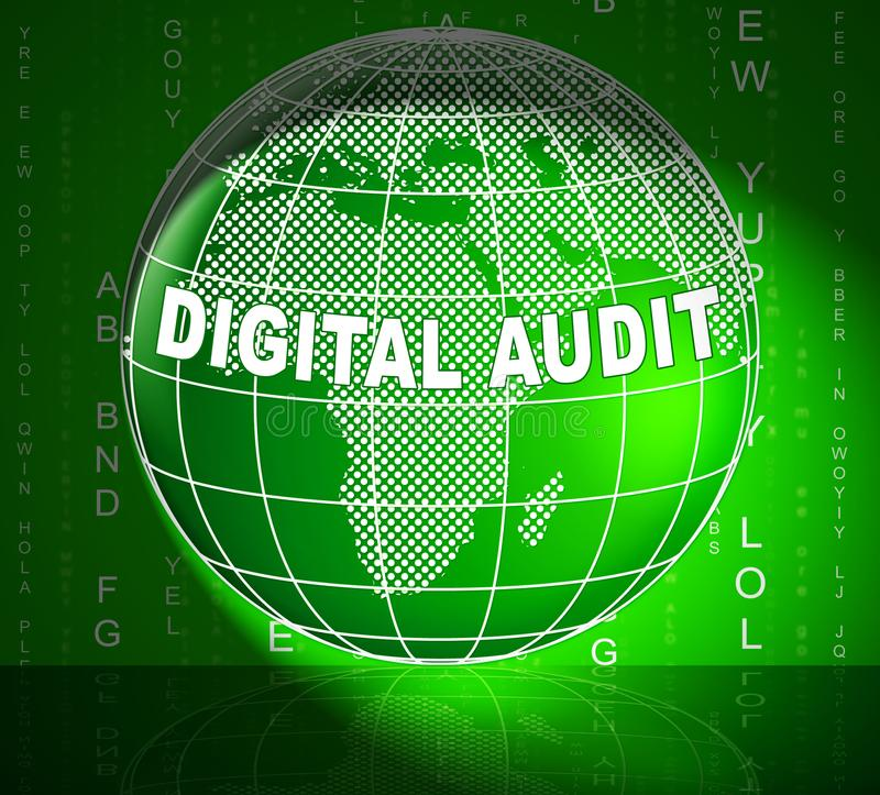 Digital Audit Cyber Network Examination 3d Illustration. Shows Analysis By Auditor Of Digital Information Or Virtual Resources vector illustration