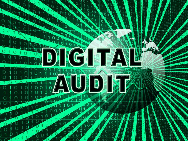 Digital Audit Cyber Network Examination 3d Illustration. Shows Analysis By Auditor Of Digital Information Or Virtual Resources royalty free illustration