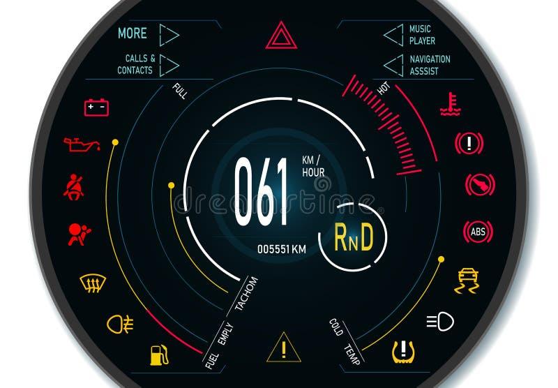 Digital automatisk instrumentbräda av en modern bil Grafisk skärm illustration royaltyfri illustrationer