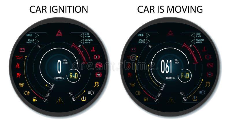 Digital automatisk instrumentbräda av en modern bil Grafisk skärm, när tändningen kopplas på, och när medlet är royaltyfri illustrationer