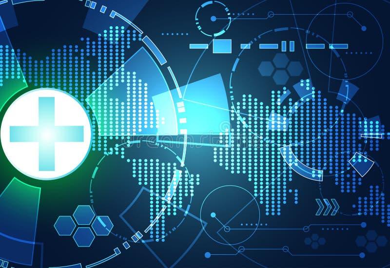 Digital azul do verde abstrato da saúde do conceito do fundo da tecnologia ilustração do vetor