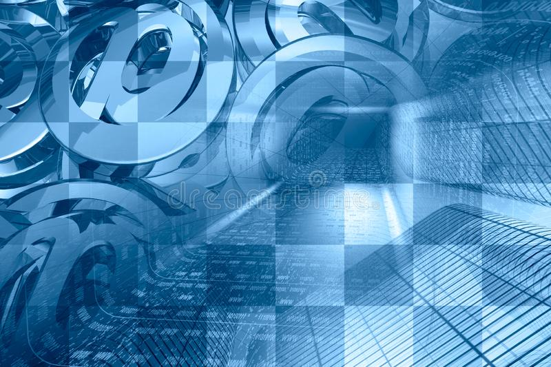 Digital background. Communication background - digits in the tunnel and mail signs royalty free stock photography