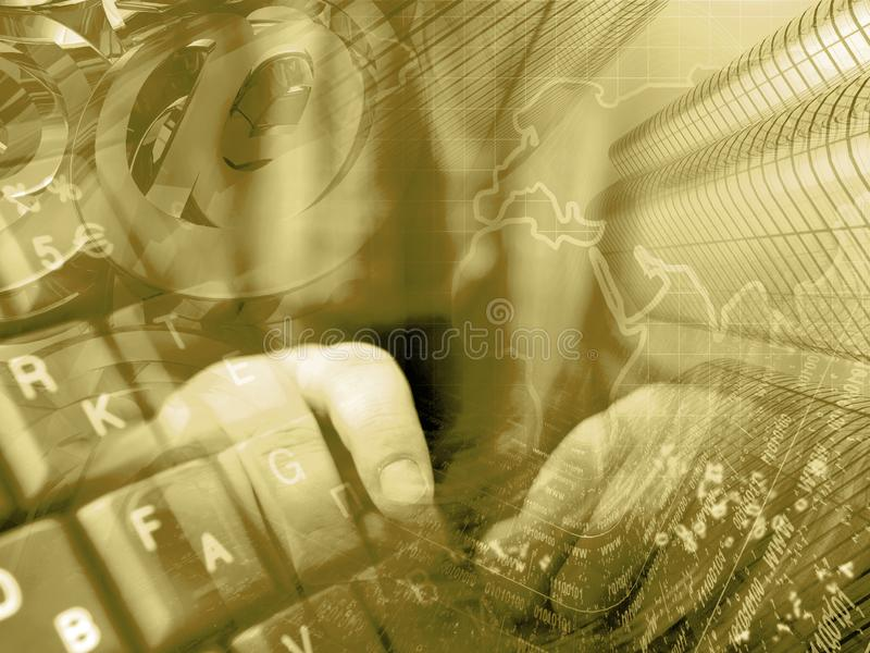 Digital background. Communication background - digits, hands and map stock images
