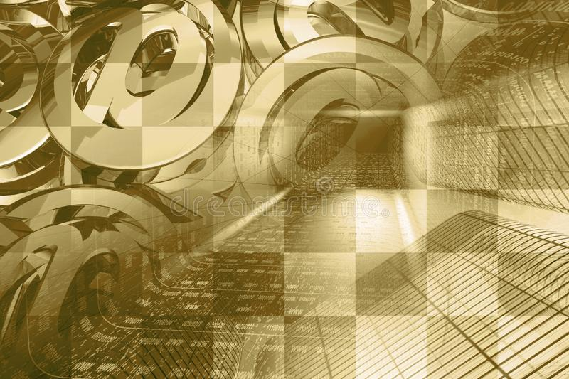 Digital background. Communication background - digits in the tunnel and mail signs stock images