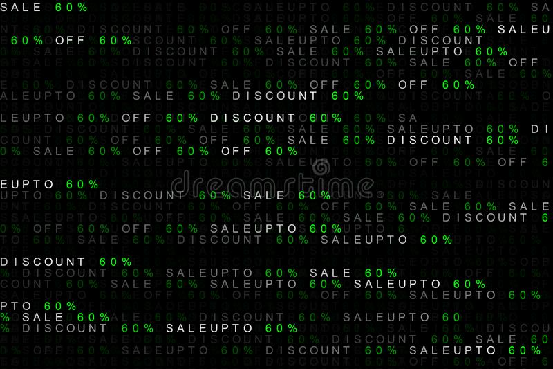Digital background concept of marketing word sale up to, off sale, discount 60% or 60 percent or sixty percent. royalty free illustration