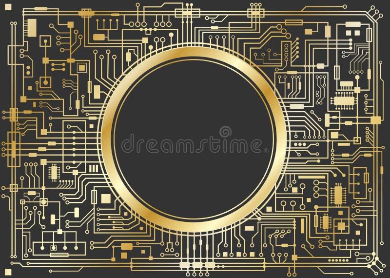 Digital bakgrund för guld- chipset vektor illustrationer