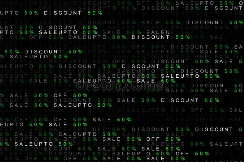 Digital bakgrundsbegrepp av att marknadsföra ordförsäljning upp till, av försäljning, rabatt 50% eller 50 procent eller femtio pr royaltyfri illustrationer