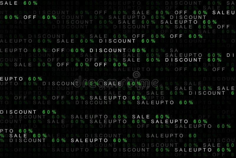 Digital bakgrundsbegrepp av att marknadsföra ordförsäljning upp till, av försäljning, rabatt 60% eller 60 procent eller sextio pr royaltyfri illustrationer