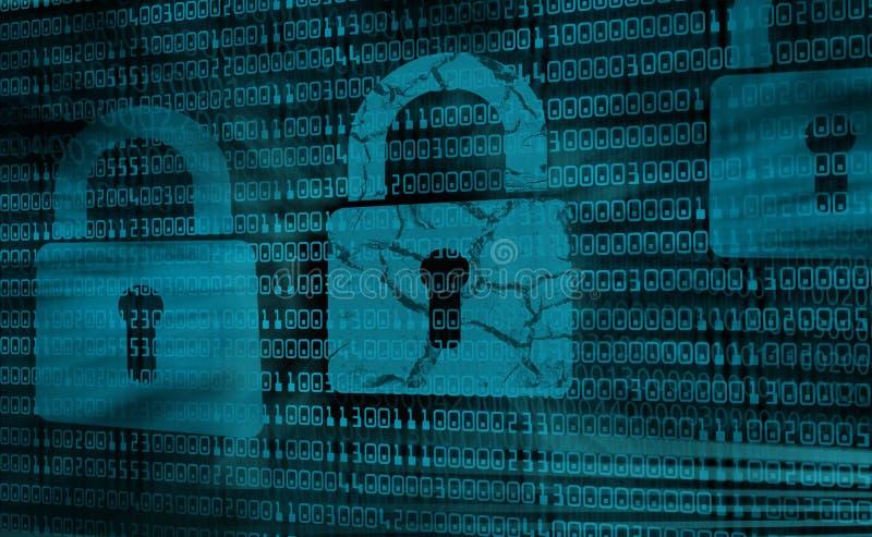 Digital bakgrundsbegrepp av internetsäkerhet, hackat system vektor illustrationer