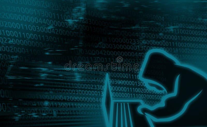 Digital bakgrundsbegrepp av internetsäkerhet, hackat system stock illustrationer