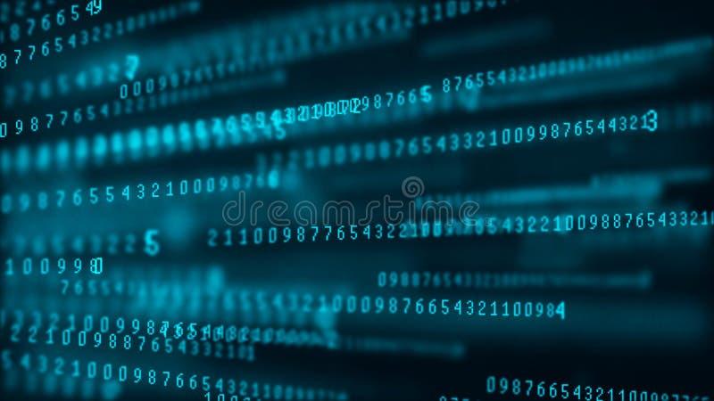 Digital bakgrundsmatris Datapaket dator f?r bin?r kod En hackerbegrepp framf?rande 3d royaltyfri illustrationer