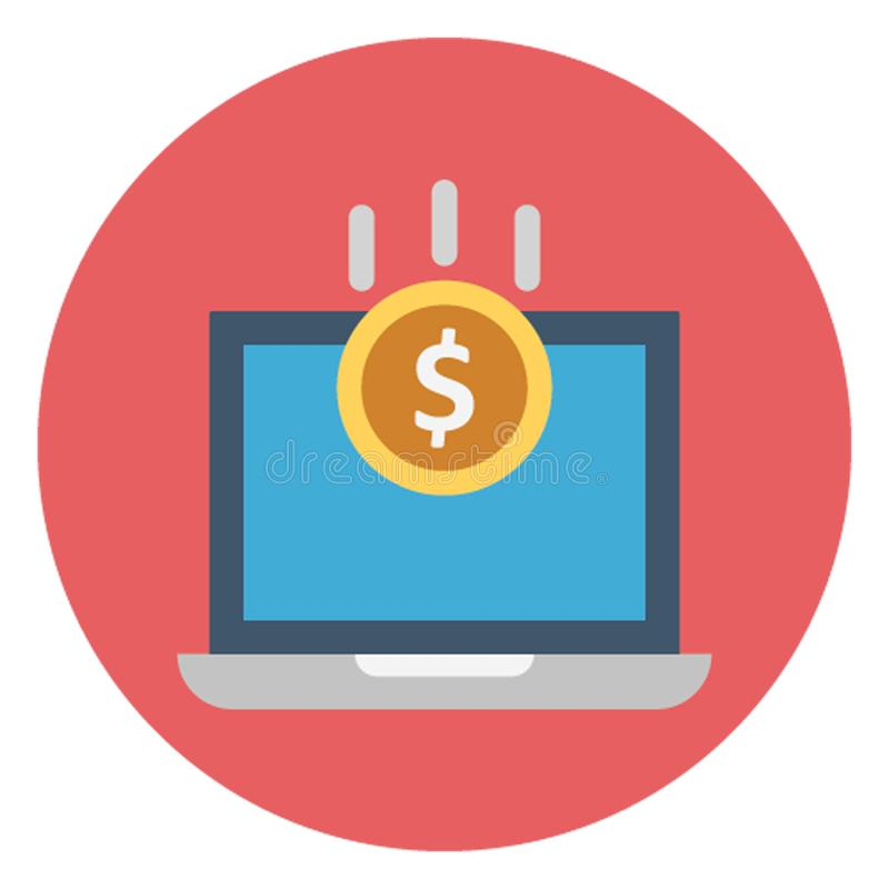 Digital banking, monitor screen money Isolated Vector Icon which can be easily edited stock illustration