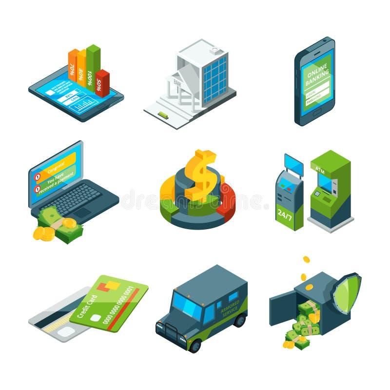 Digital bankrörelsen Online-banktransaktion Digital operation Isometrisk affärssymbolsuppsättning vektor illustrationer