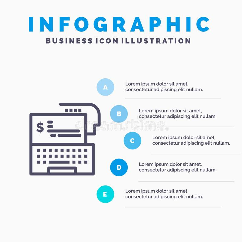 Digital-Bankwesen, Bank, Digital, Geld, on-line-Linie Ikone mit Hintergrund infographics Darstellung mit 5 Schritten vektor abbildung