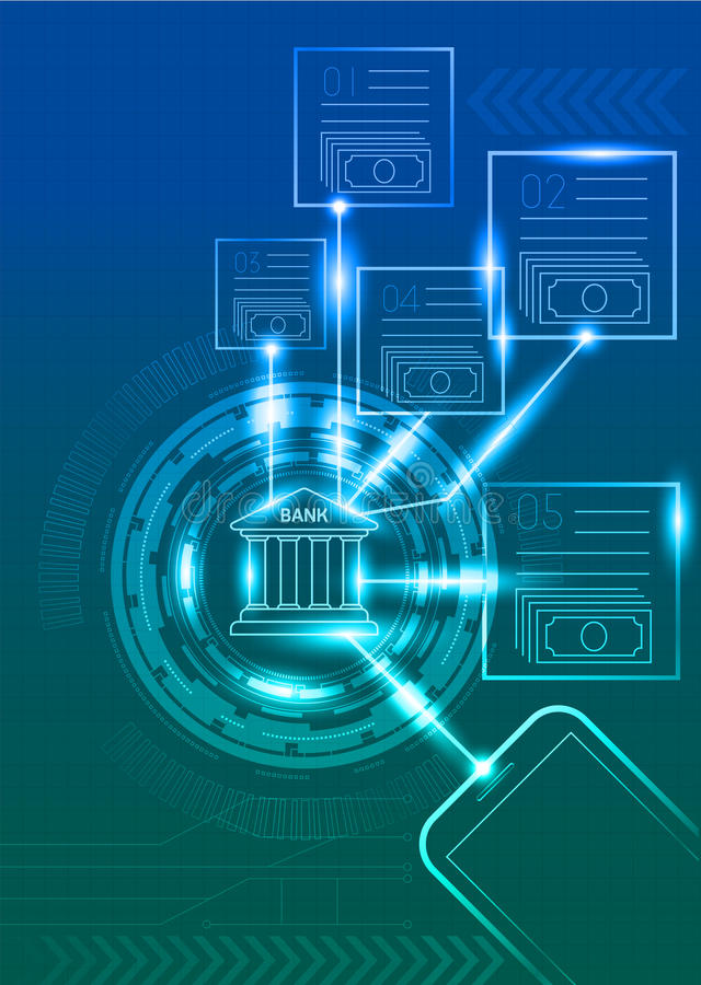 Digital-Bankwesen mit Handy- und Technologiehintergrund vektor abbildung