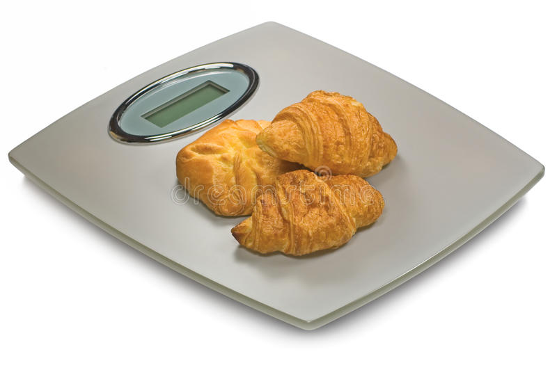 Download Digital Bathroom Scale And Croissants, Isolated Royalty Free Stock Photo - Image: 11894785