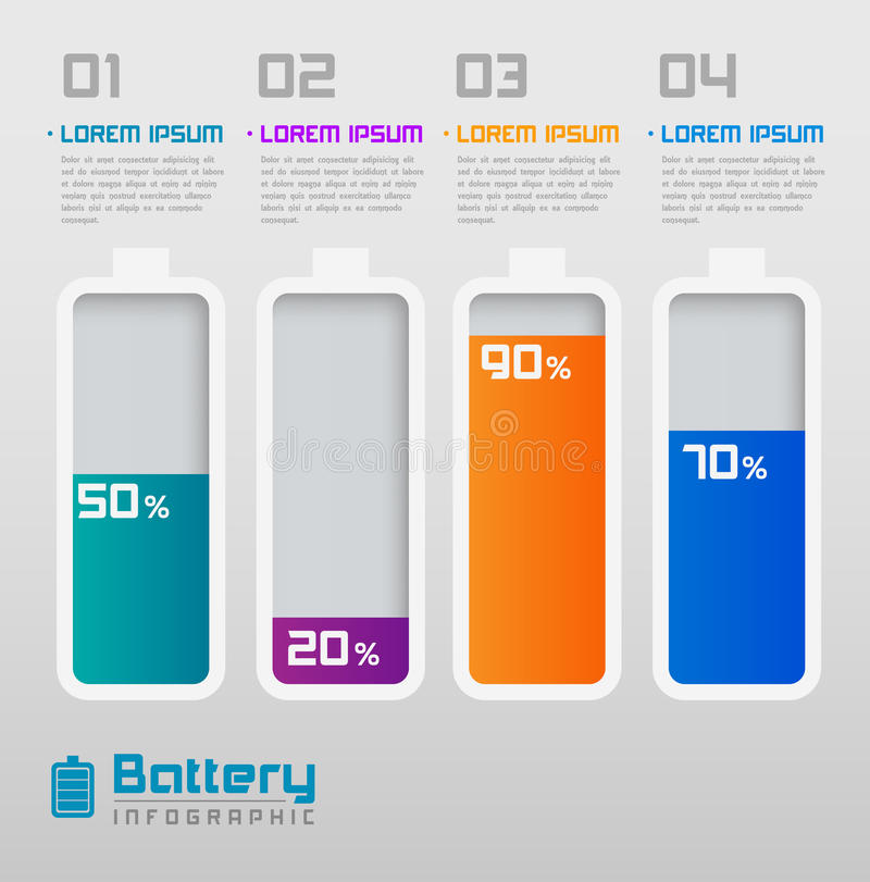 Digital Battery with Percentage Info-graphics element stock illustration