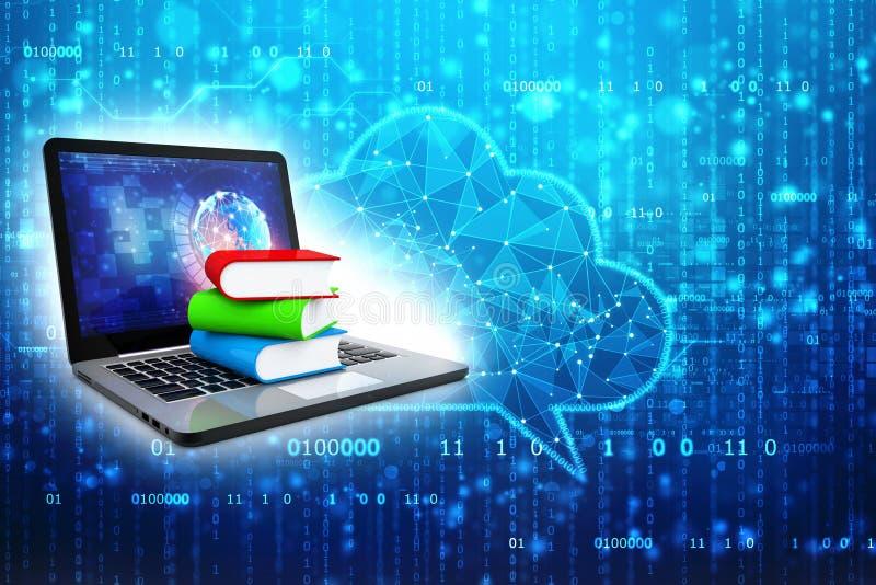 Digital-Bibliothek und on-line-Bildungskonzept im digitalen Hintergrund 3d übertragen stockfotografie