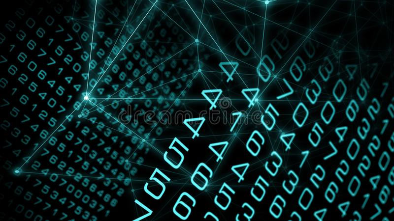 Digital big data abstract, cyber attack illustration vector illustration