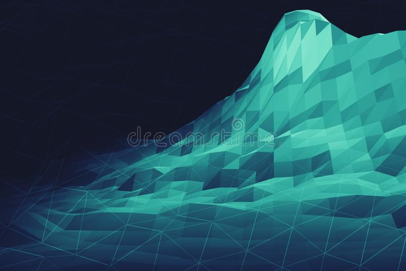 Digital low poly geometry landscape 3d illustration. Digital big data information mountain futuristic low poly geometry landscape 3d illustration royalty free stock photography