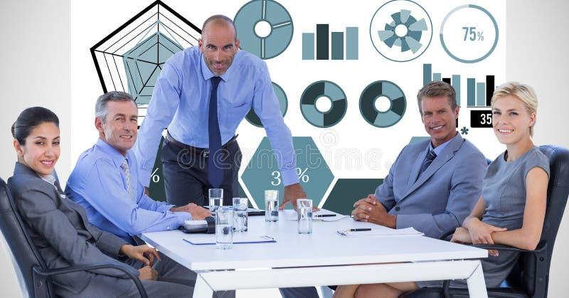 Digital bild av affärsfolk i möte mot grafer fotografering för bildbyråer