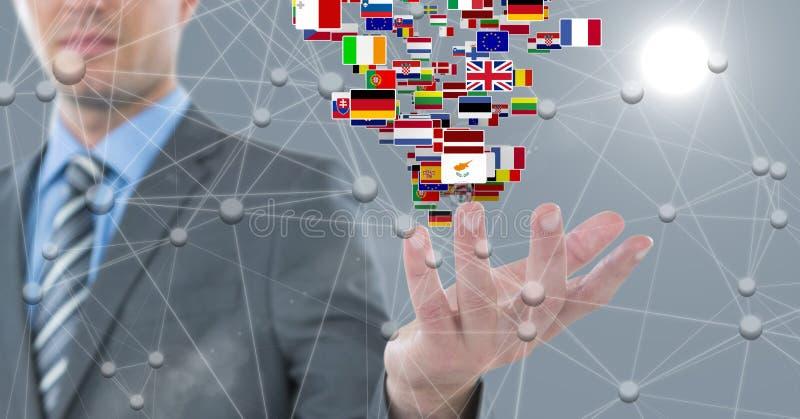 Digital bild av affärsmannen med olika flaggor och förbindande prickar royaltyfria foton