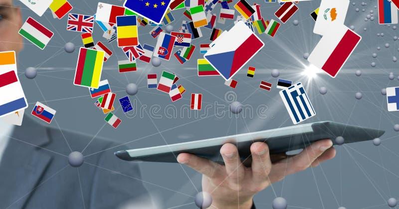 Digital bild av affärsmannen som rymmer den digitala minnestavlan med olika flaggor och förbinder prickar royaltyfri illustrationer