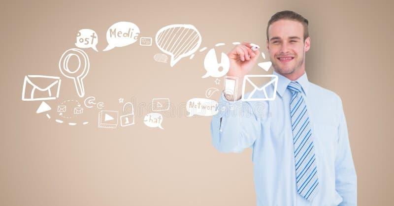 Digital bild av affärsmanteckningssymboler mot beige bakgrund royaltyfri illustrationer