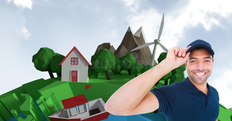 Digital bild av anseendet för leveransman mot hus och träd under solig dag arkivfoto