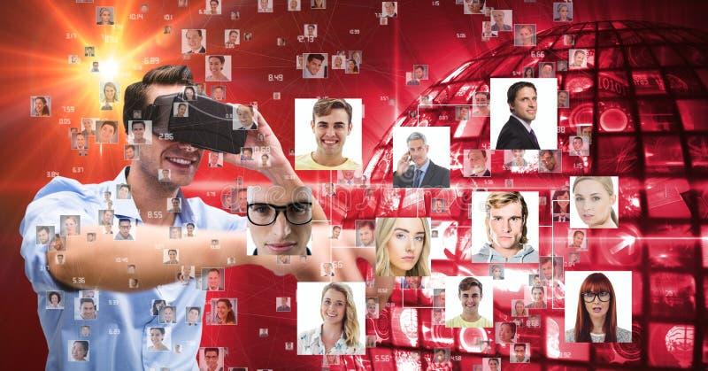 Digital bild av den unga mannen som använder VR-exponeringsglas, medan se olika stående vektor illustrationer