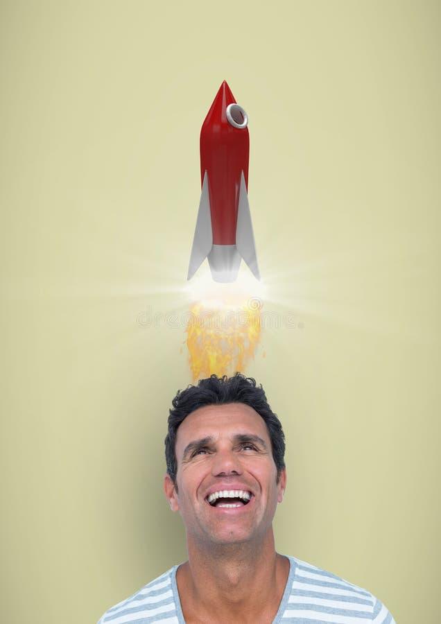 Digital bild av mannen som har raketlanseringsfast utgift mot gul bakgrund vektor illustrationer