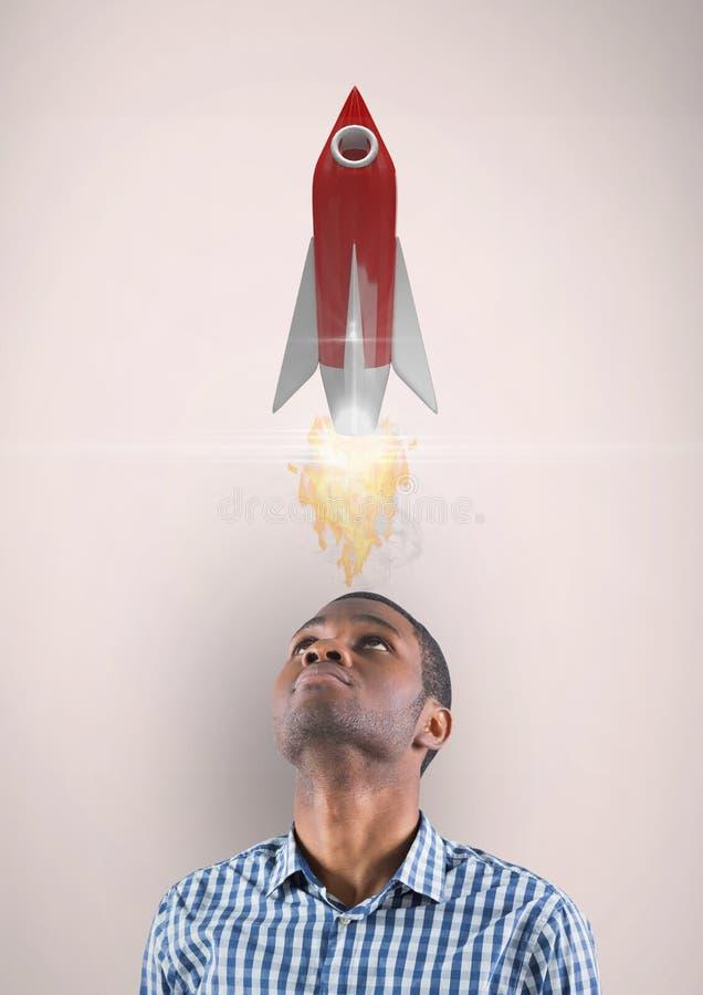 Digital bild av mannen som ser upp på raketlanseringen, medan stå mot beige bakgrund vektor illustrationer