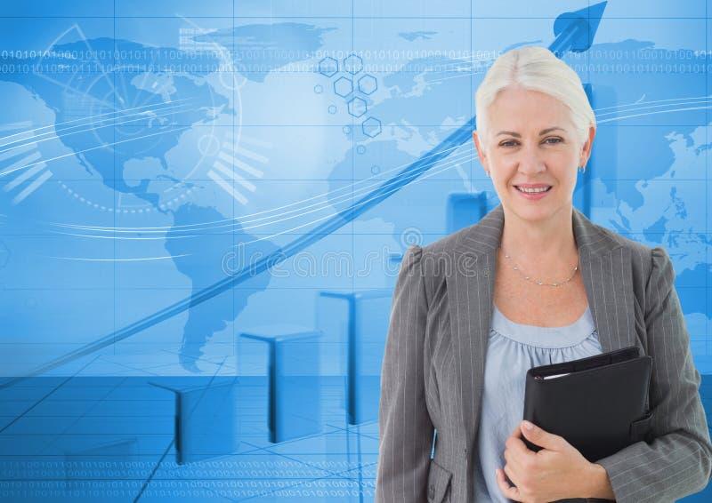 Digital bild av mappen för hållande mapp för affärskvinna, medan stå mot graf och världskarta royaltyfri illustrationer