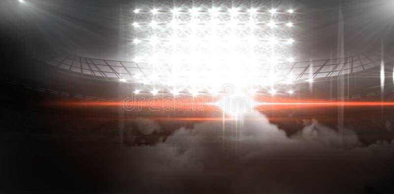 Digital bild av upplysta flodljus på stadion royaltyfri illustrationer