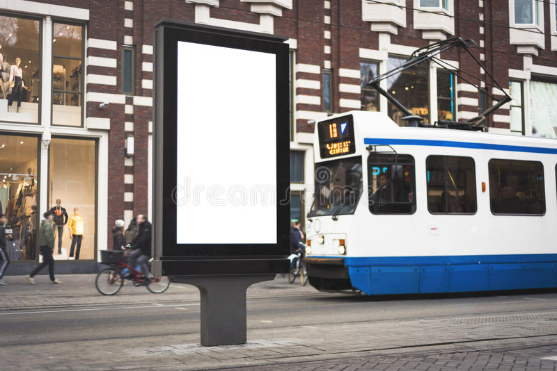 Digital billboard. Outdoor kiosk city advertising in Amsterdam stock image