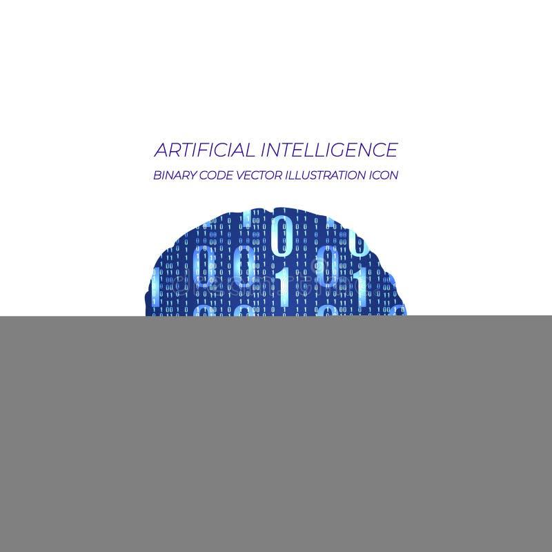 Digital binär kod, hjärna, VEKTORillustration, konstgjord intelligens royaltyfri illustrationer