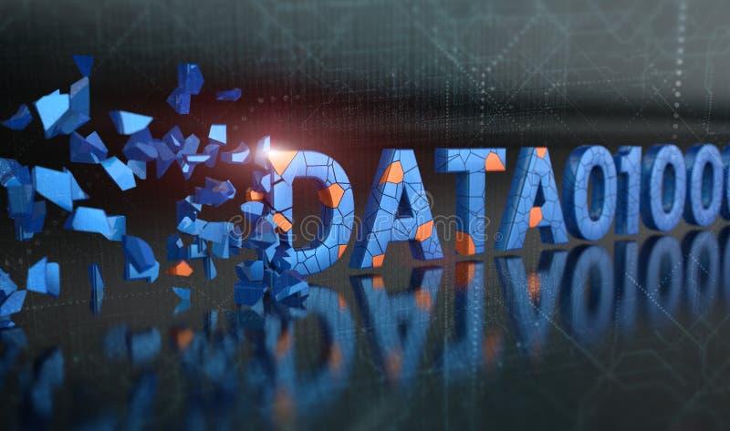 Digital binära data, nöjd förlust, förstört, skadlig stock illustrationer