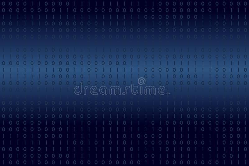 Digital binära data på blå bakgrund Modernt vetenskap, teknologi, virusdator, dataintrång, nätverk i cyberspacebegrepp royaltyfri illustrationer