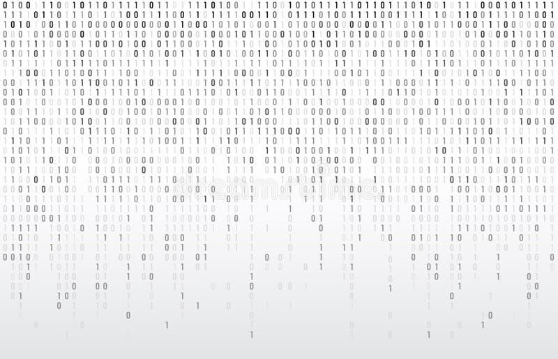 Digital-binärer Code Fallende Zahlen der Computermatrixdaten, Typografie kodierend und Codes strömen grauen Vektorhintergrund