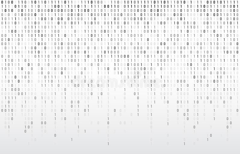 Digital binary code. Computer matrix data falling numbers, coding typography and codes stream gray vector background stock illustration