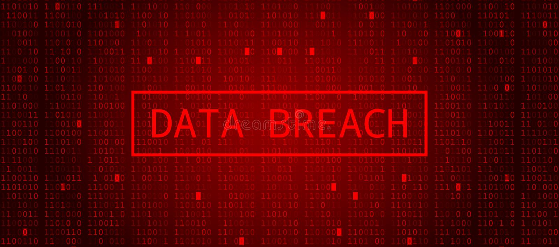 Digital Binary Code on Dark Red BG. Data Breach stock illustration