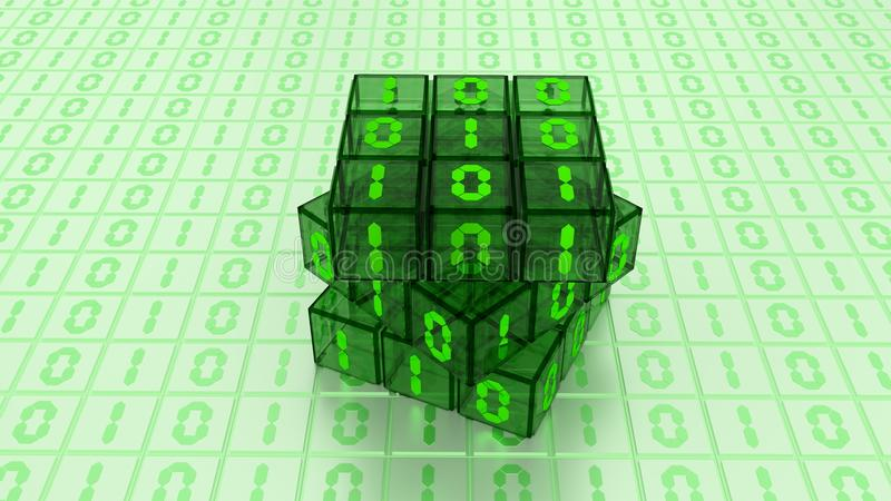 Digital Binary Magic Cube Box in Green Glass White Background royalty free illustration