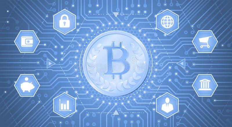 Digital Bitcoin illustration stock