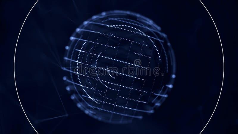 Digital blå genomskinlig sfär med små rörande prickar på dess yttersida som roterar nad som mottar signaler på blått mörker - royaltyfri illustrationer