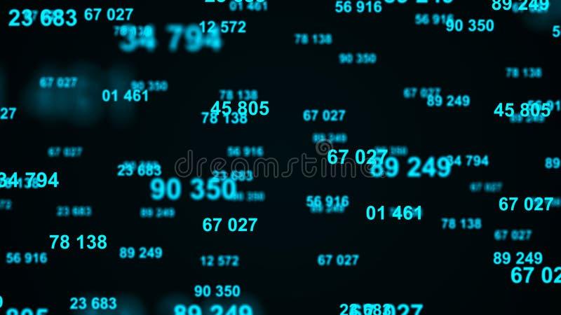 Digital-blauer Hintergrund Informationscode Bin?rer Computercode Wiedergabe 3d lizenzfreie abbildung