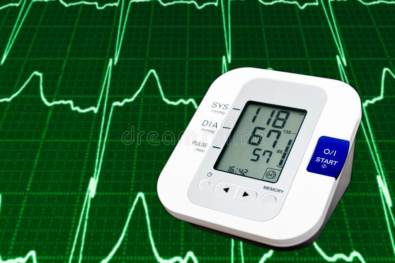 Digital blood pressure monitor stock images