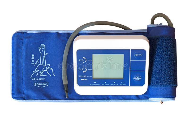 Digital Blood Pressure Monitor with Arm Cuff on White Background stock image